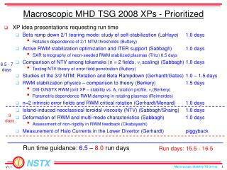 Macroscopic MHD TSG 2008 XPs - Prioritized