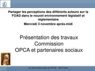 Présentation des travaux Commission  OPCA et partenaires sociaux