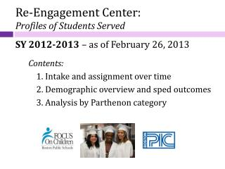 Re-Engagement Center: Profiles of Students Served SY 2012-2013  – as of February 26, 2013