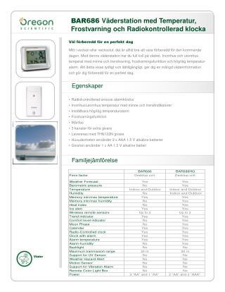 BAR686  Väderstation med Temperatur, Frostvarning och Radiokontrollerad klocka