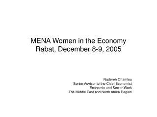 MENA Women in the Economy Rabat, December 8-9, 2005