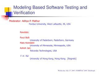 Modeling Based Software Testing and Verification