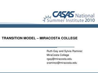 TRANSITION MODEL – MIRACOSTA COLLEGE