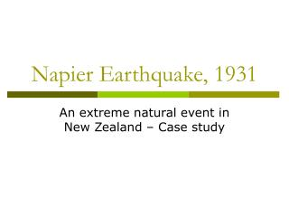 Napier Earthquake, 1931