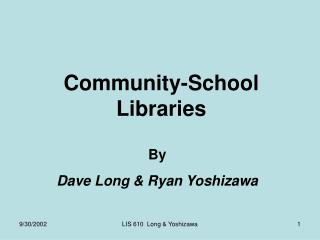 Community-School Libraries