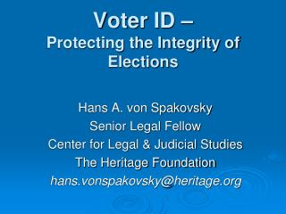 Voter ID – Protecting the Integrity of Elections