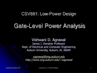 CSV881: Low-Power Design  Gate-Level Power Analysis