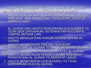 HADITS SUMBER KEDUA AJARAN ISLAM