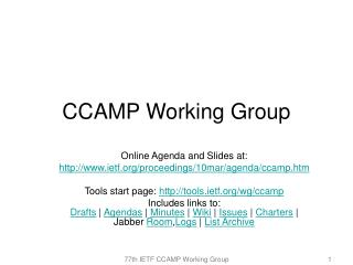 CCAMP Working Group
