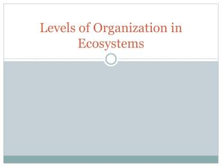 Levels of Organization in Ecosystems