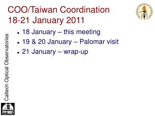 COO/Taiwan Coordination 18-21 January 2011
