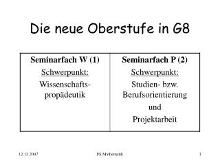 Die neue Oberstufe in G8