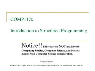 COMP1170   Introduction to Structured Programming