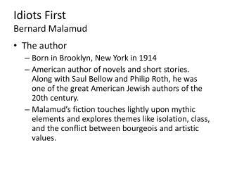 Idiots First Bernard Malamud
