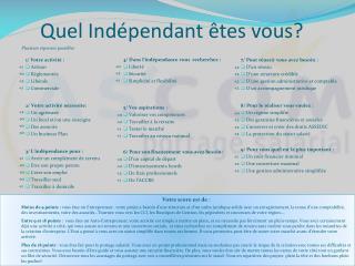 Quel Indépendant êtes vous?