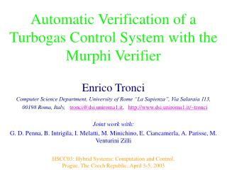 Automatic Verification of a Turbogas Control System with the Murphi Verifier