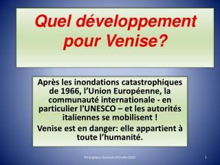 Quel développement pour Venise?