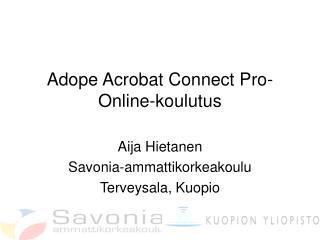 Adope Acrobat Connect Pro- Online-koulutus