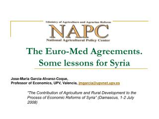The Euro-Med Agreements. Some lessons for Syria