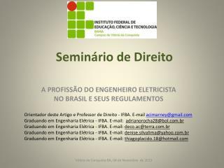 A profissão do engenheiro eletricista no brasil e seus regulamentos