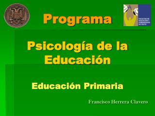 Programa Psicología de la Educación Educación Primaria