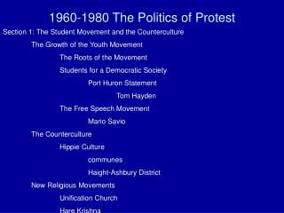 1960-1980 The Politics of Protest