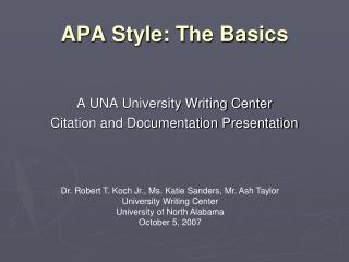 APA Style: The Basics