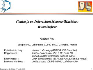 Contexte en Interaction Homme-Machine : le contexteur