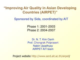"""Improving Air Quality in Asian Developing Countries (AIRPET)"""