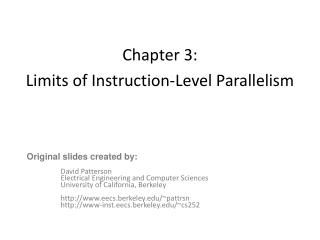 Chapter 3:  Limits of Instruction-Level Parallelism