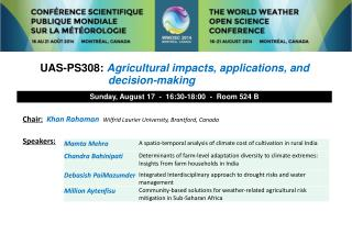UAS-PS308:  Agricultural impacts, applications, and decision-making