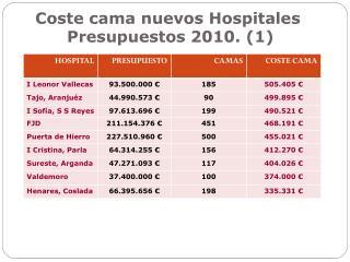 Coste cama nuevos Hospitales  Presupuestos 2010. (1)