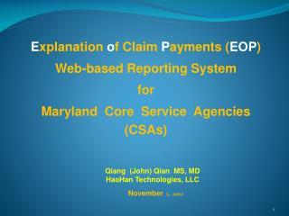 E xplanation  o f Claim  P ayments ( EOP )   Web-based Reporting System  for