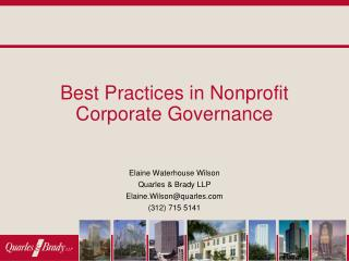 Best Practices in Nonprofit Corporate Governance