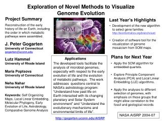 Exploration of Novel Methods to Visualize  Genome Evolution