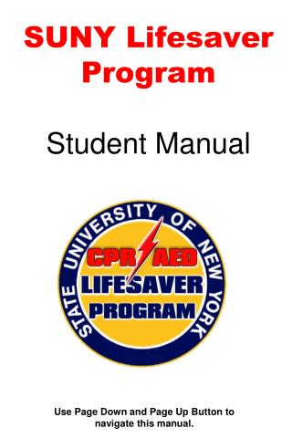 SUNY Lifesaver Program Student Manual