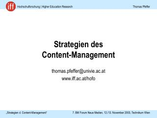 Strategien des  Content-Management