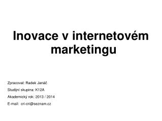 Inovace v internetovém marketingu