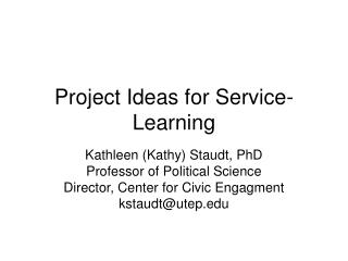 Project Ideas for Service-Learning