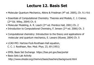 Lecture 12. Basis Set