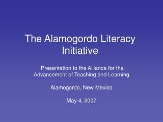 The Alamogordo Literacy Initiative
