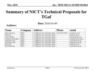 Summary of NICT's Technical Proposals for TGaf