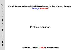 Kerndokumentation und Qualitätssicherung in der Schmerztherapie  KEDOQS Schmerz