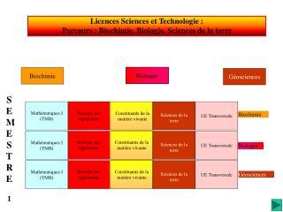 Licences Sciences et Technologie :   Parcours : Biochimie, Biologie, Sciences de la terre
