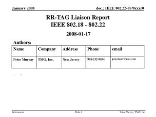 RR-TAG Liaison Report IEEE 802.18 - 802.22