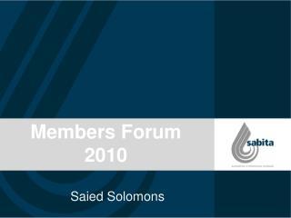 Members Forum  2010