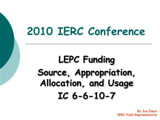 2010 IERC Conference