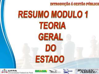 RESUMO MODULO 1 TEORIA GERAL  DO ESTADO