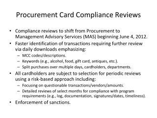 Procurement Card Compliance Reviews