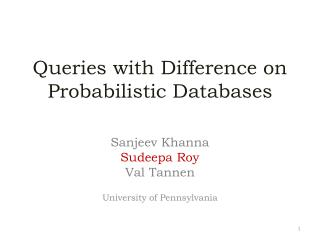 Queries with Difference on Probabilistic Databases
